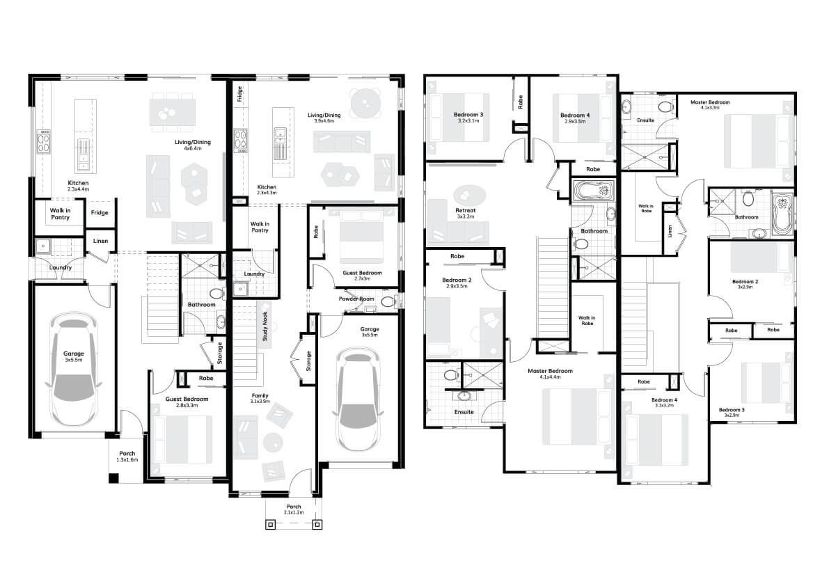 Greenwich 43 – Dual Occ Floorplans
